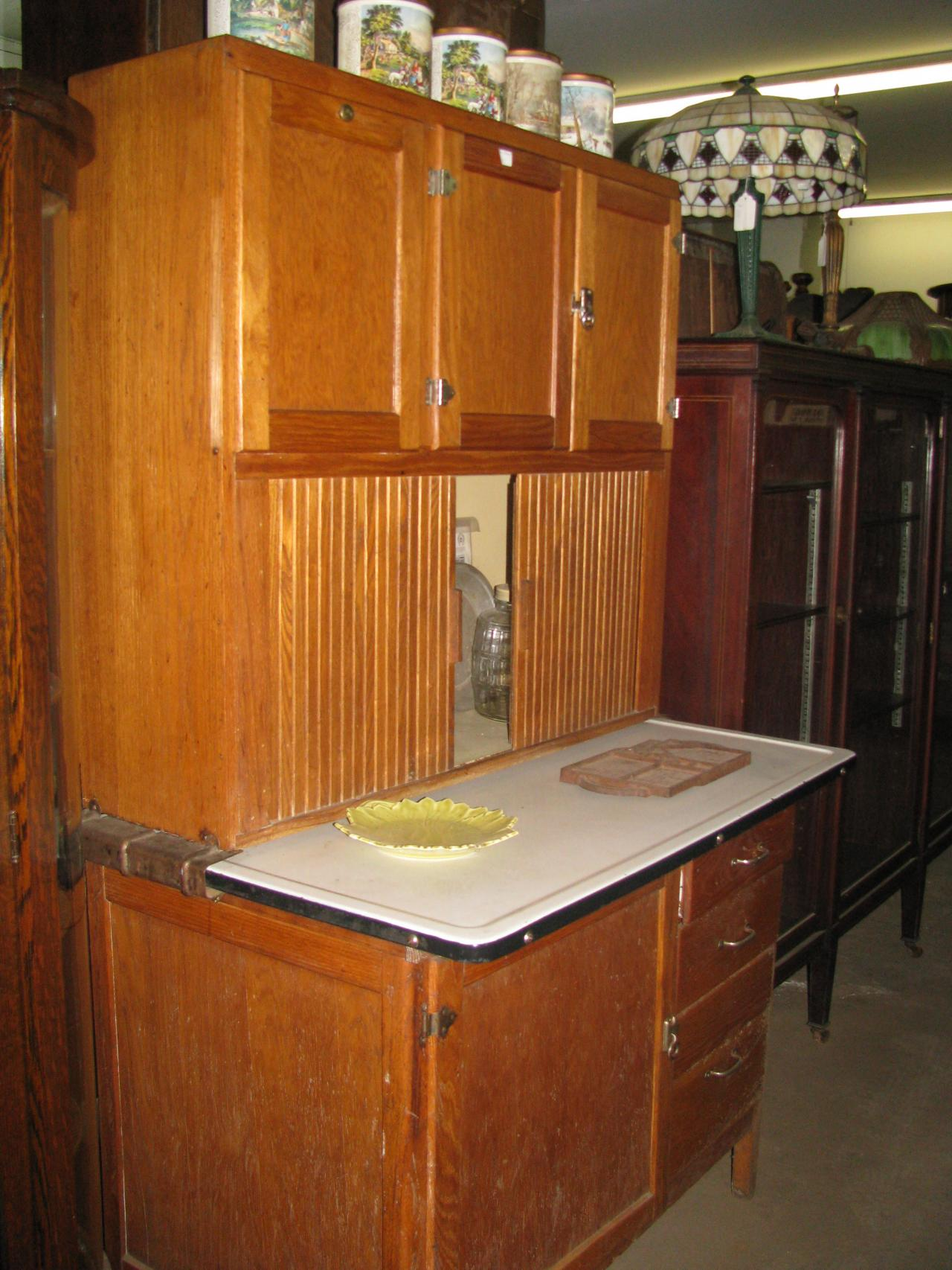 IMG 1373 Hoosier Kitchen Cabinet Circa 1920 Sanitary Roll Doors