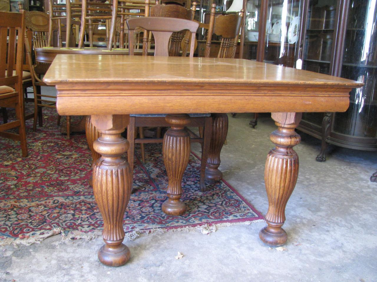 Z 39 s antiques restorations antique oak walnut and pine for Antique dining room tables
