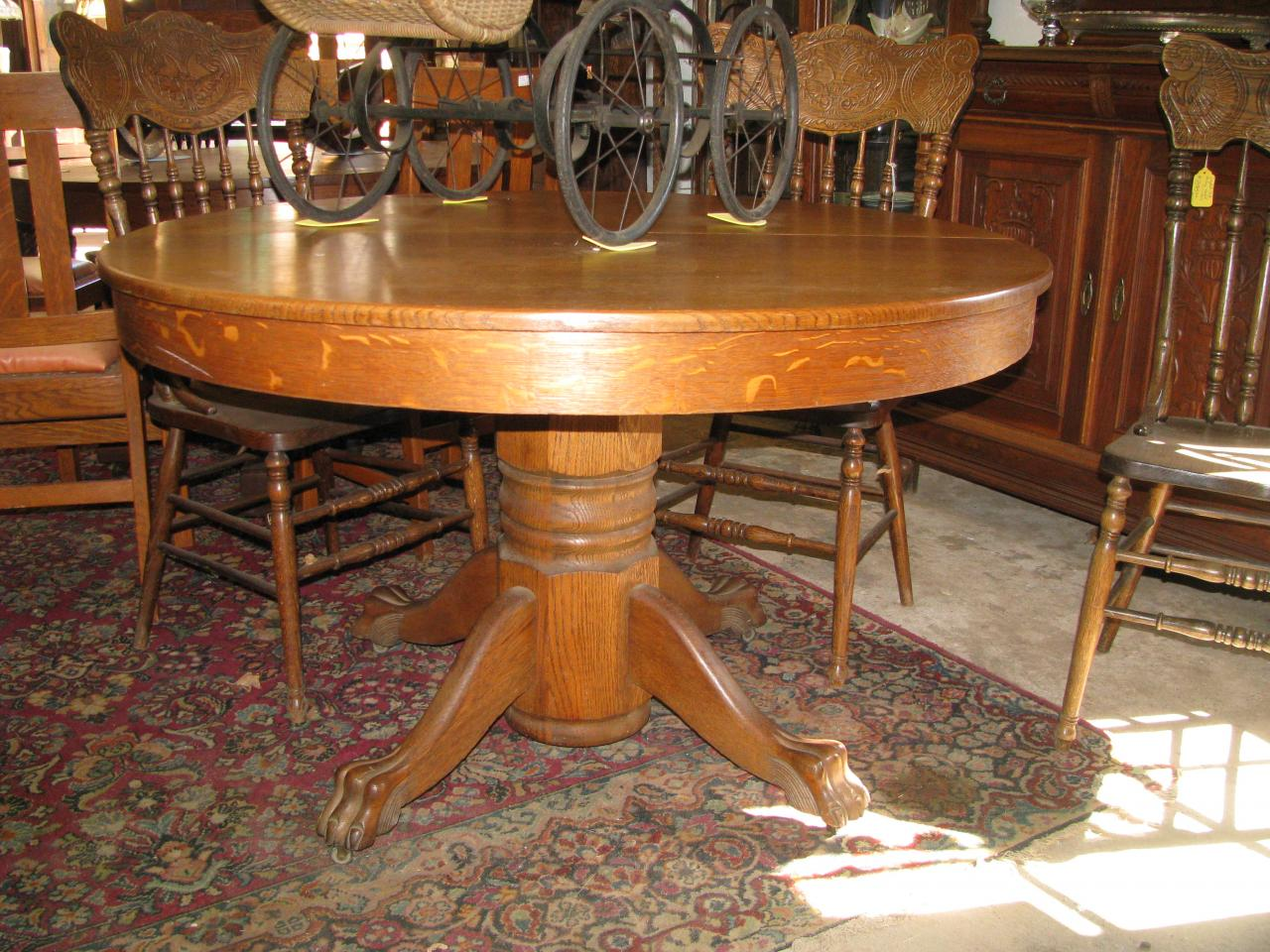 Zs Antiques Restorations ANTIQUE OAK WALNUT AND PINE TABLES - Claw foot oak dining table