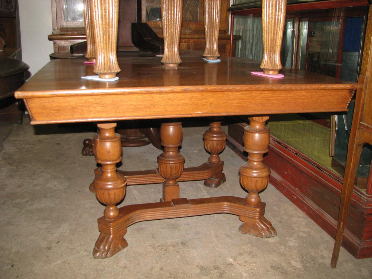 Zs antiques restorations antique oak walnut and pine tables 210000 48 square oak table 5 legs with claw feet 145000 watchthetrailerfo